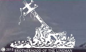 Raising the Pole Lineman Die-cut Decal- Brotherhood