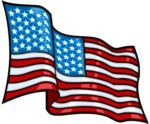 USA Flag Waving Decal