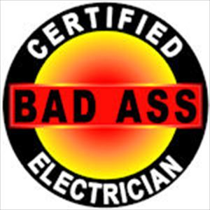 Certified Bad Ass Electrician Hard Hat Decal