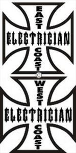 West Coast  OR East Coast Electrician Hard Hat Decal - 2 Sizes