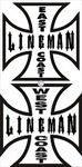 West Coast  OR East Coast Lineman Decal