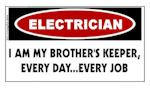 WARNING: Electrician I Am My Brother's Keeper Sticker