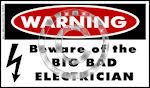 Warning Big Bad Electrician Decal - Sticker