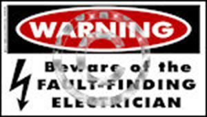 TNT: Beware of the Fault Finding Electrician  Sticker