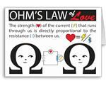 Ohms Law of Love Greeting Card QTR FOLD