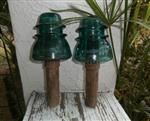TWO Spiral Insulator Posts - Hemingray # 42 Beaded Skirt Insulators