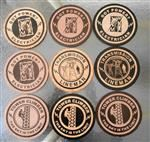 "Wooden Medallions Emblems 4.25"" Diameter"