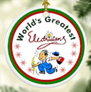 World's Greatest Electrician Tree Ornament - Porcelain