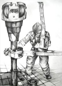 Oil Rigger Detailed Drawing Art Print 15 x 11
