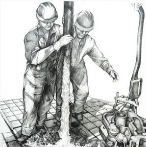 Oil Rig Workers Detailed Art Sketch Print 15 x 11
