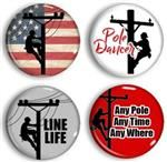 Assorted Power Linemen Pinbacks and Magnets