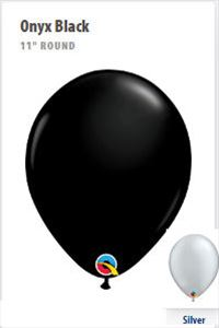 """Black or Silver 11"""" Balloons...Made in the USA"""