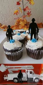 Lineman Electrician Wood Silhouettes Diorama Cakes