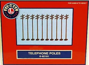 Set of 10 LIONEL Telephone / Utility / Power Poles 7""