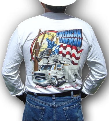Climbing Tall...Bringing Power to All...The American Lineman long-sleeve t-shirt. You will really like this t-shirt for power linemen!