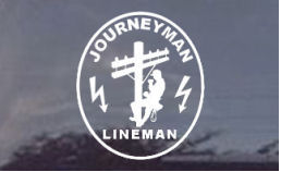 This awesome Journeyman Lineman decal depicts a lineman climbing the pole and has the electrical hazard emblems on it.  It's very cool!