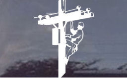 Simple decal of a lineman climbing...simple but very detailed...works for a lineman whether he's a telephone lineman, cable lineman, railroad lineman or other lineman!
