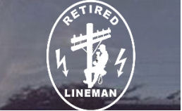 Retired lineman gifts, retired lineman decals, decals for linemen!  We've got them here!