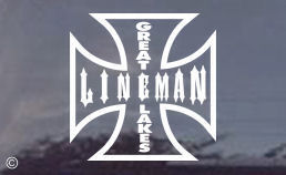 Great Lakes Lineman decal for Great Lakes Linemen! Order your window decals today...available in your choice of black or white!