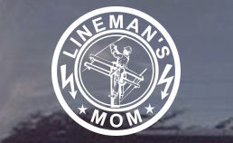 A cool decal for any mom of a lineman. We've listened to our customers - so now we offer you decals for moms of the electrical lineman! Order your MOM power lineman decals today!
