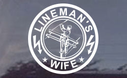 Are you a lineman's wife? Then this decal would be great for you! Order your electrical lineman's wife decal today!