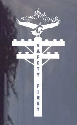 lineman safety first eagle window decal