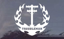 Electric Troubleman die cut decals for cars or trucks...windows or panels.  Order some troubleman decals today!