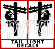 Put a pair of climbing lineman tail light decals on your truck and you'll be sure to gain some attention - very COOL. Order today!