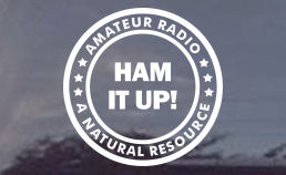 HAM IT UP! AMATEUR RADIO OPERATOR DECAL FOR CAR OR TRUCK