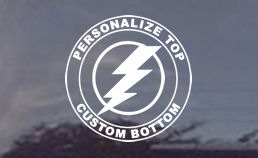 Here we have an electrical bolt and you can customize with or without text if desired. Order your electrical trades decal today!