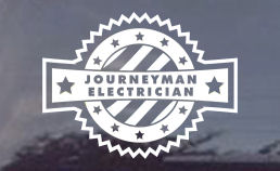 journeyman electrician die cut window or truck decals for electricians!
