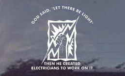 God created electricians decals, stickers, for your car or truck window...die cut!