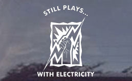 Still plays with electricity...cool decal for retired electricians or those who are retired from the electrical trades.  Die cut window decals are COOL!