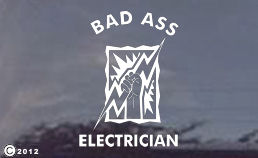 bad ass electrician decal