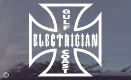 Gulf Coast Electrician Decals for truck windows.