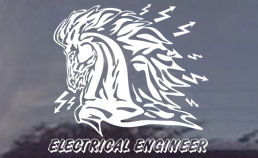 This electrical engineer decal proudly displays a fierce horse with electrical bolts flaring out of his nostrils. very cool!