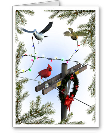 Celebrate the Season with our holiday cards...perfect for linemen, electricians, electrical engineers and others in the electrical trades.