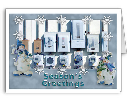 Electric Meter Christmas Cards. Geared for meter technicians, readers, supervisors, all electric utilities and cooperatives!