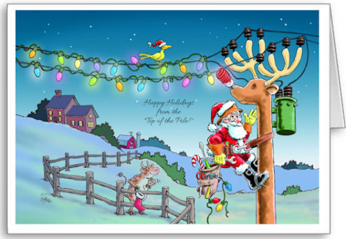 Rudy Transformed Lineman Christmas Card: Merry Christmas from the top of the pole!