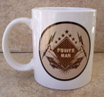 Power_Man Coffee Mug done in shades of brown. This Power Man is holding lightening bolts in each hand. Are you a power man?
