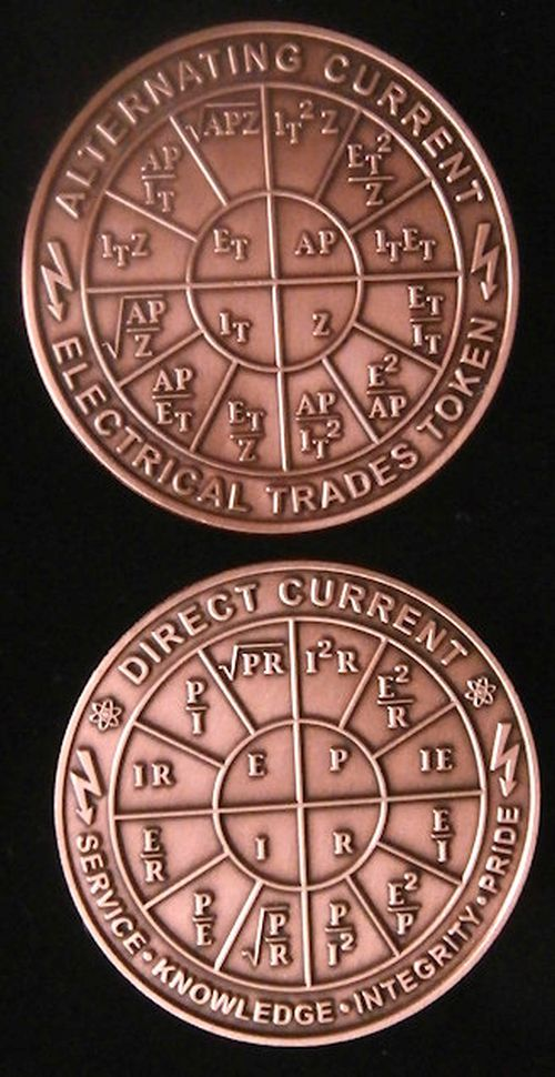 AC and DC Ohms Law Coin Power Formulas on a solid copper coin. Electrical Trades Token. 2