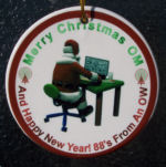 This amateur radio Christmas ornament is made of porcelain and measures 3