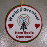 A vibrant and colorful Christmas tree ornament for a ham radio operator that you think is the GREATEST! Measures almost 3