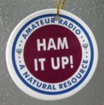 "Amateur Radio Christmas Tree Ornaments - HAM IT UP! Made of Ceramic and about 2.75"" in diameter."