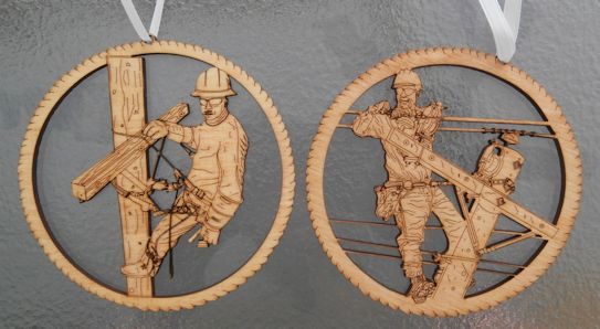 tnt  journeyman lineman stained christmas ornament
