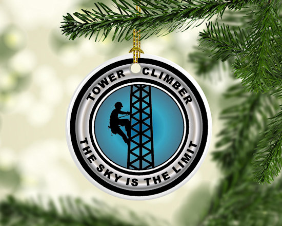 Christmas Tree Ornament for tower climbers, tower technicians and others who work in the cell, radio and telecom industry.