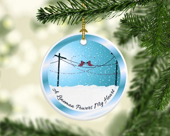 Porcelain Lineman Powers My Heart Christmas Tree Ornament