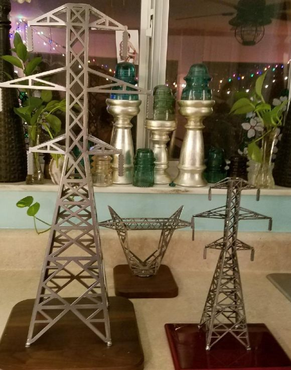 "First is the 24"" tower, second is our Tower Top business card holder and third is our 12"" transmission tower. All made in the USA."