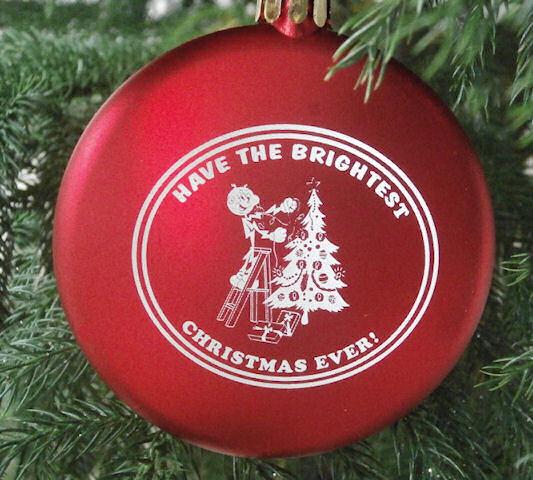 Reddy Kilowatt retro Snowflake Blinking Light Holiday Christmas Tree Ornament